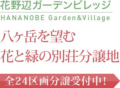 花野辺ガーデンビレッジ HANANOBE Garden&Village 八ヶ岳を望む花と緑の別荘分譲地 全24区画分譲受付中!